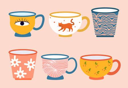 Set of colored mugs