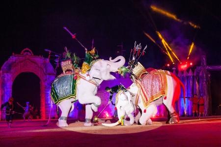 Ayothaya, Thaïlande - un spectacle aIuthheete, la guerre de elephan Thai.