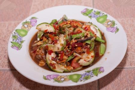 thai papaya salad hot and spicy mixed photo