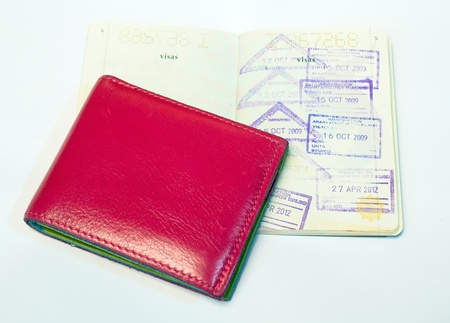Pink wallet and passport photo