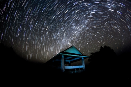 at night with startrail photo