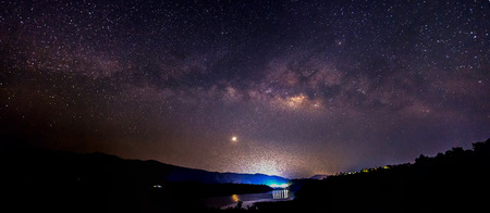 Panorama Milky Way rises over the dam in Thailand  photo