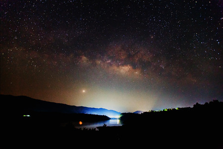 the Panorama Milky Way rises over the dam in Thailand Long exposure photograph  photo