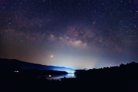 the Panorama Milky Way rises over the dam in Thailand Long exposure photograph  Standard-Bild