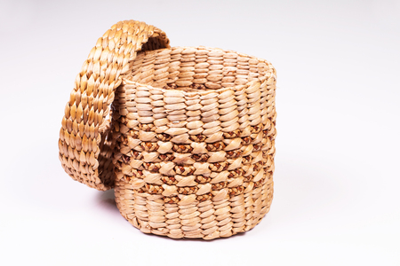 Wicker tissue box put on isolated  photo