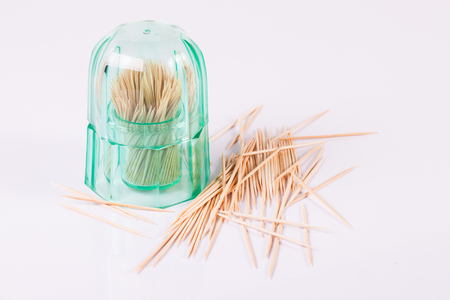 blanking: Wooden toothpicks on white background isolate