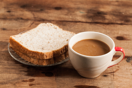 cup of coffee and Whole Wheat Bread. photo