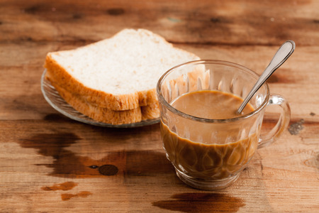 cup of coffee and Whole Wheat Bread  photo