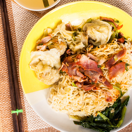 noodles with pork and vegetables  photo