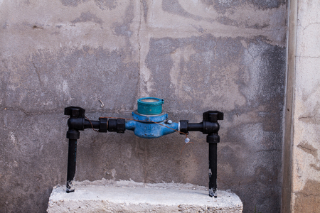waterpipe: Rusted Water Valves and Old Water meters  Stock Photo