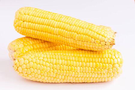 maize flour: Grains of ripe corn on isolate. Stock Photo