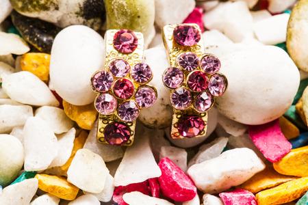 Gold Earrings. photo
