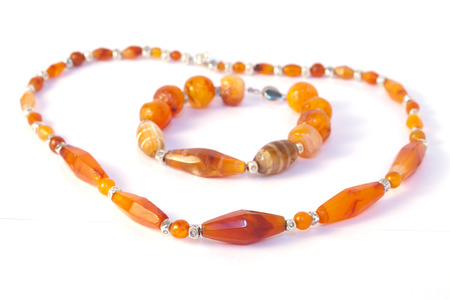 Agate Necklace and  Bracelet Isolated On White Background. photo