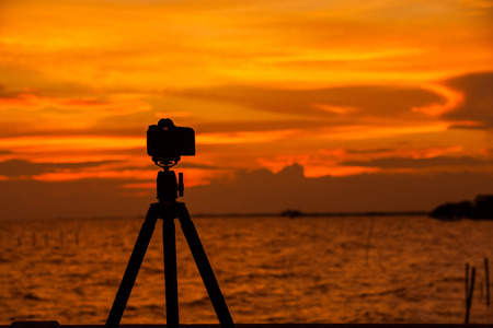 love pic: Camera silhouetted against the sea.