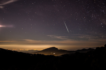 showers: The Geminids Meteors Fireball Showers. Stock Photo