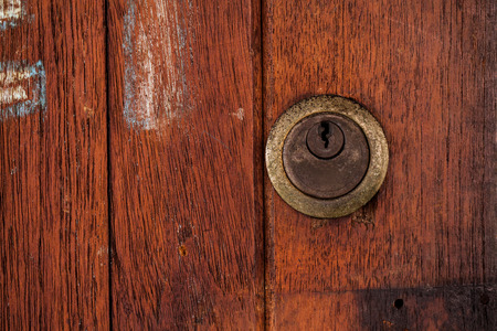 old wooden door: locked old wooden door.