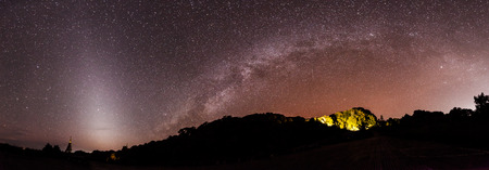 vulpecula: the Panorama Milky Way rises over the mountain in Thailand.Long exposure photograph