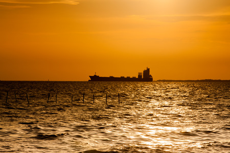 liner: Silhouette of an ocean liner at sunset