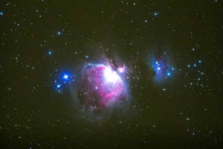 messier: The Orion Nebula photography taken with telescope. Stock Photo
