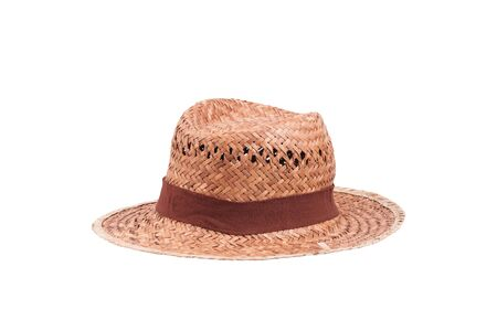 Beautiful straw hat isolated on a white background. photo