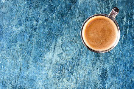 Coffee on old wood wall background. photo