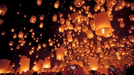 loi: launching Khom Loi in Loi Krathong Festival. Stock Photo