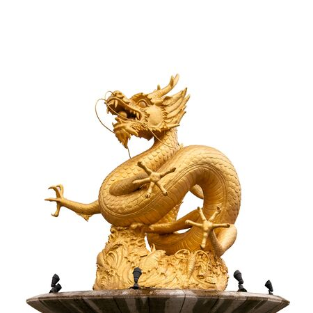 chinese new year dragon: Chinese golden dragon statue isolated on white background.