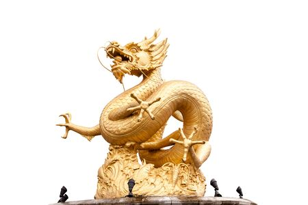 festival scales: Chinese golden dragon statue isolated on white background.