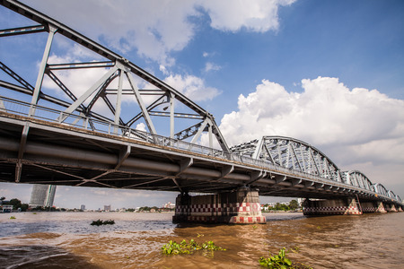 krung: Krung Thon Bridge or Sang Hi Bridge over the Chao Phraya river in Bangkok, Thailand.