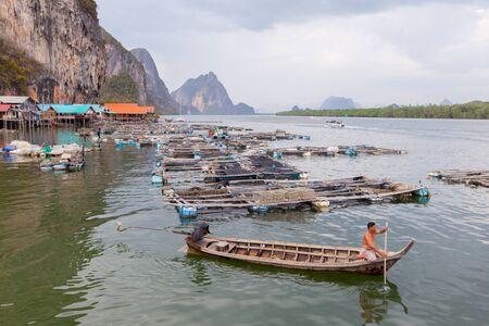 panyi: koh panyee island - September 14, 2015 : khopanyee island fisherman village settlement built on stilts of Phang Nga Bay, Thailand