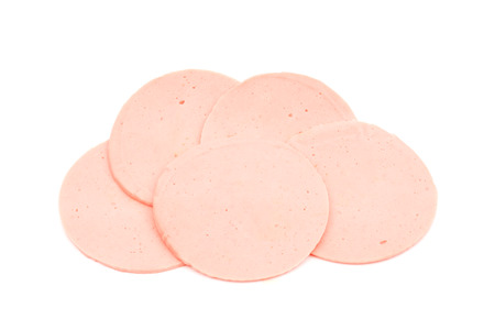 bologna baloney: ham sausage or rolled bologna slices isolated on white background.