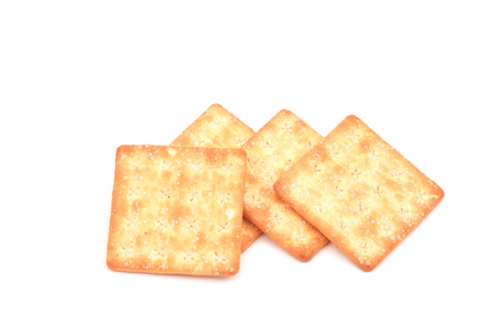 salty: Crackers isolated on white background.