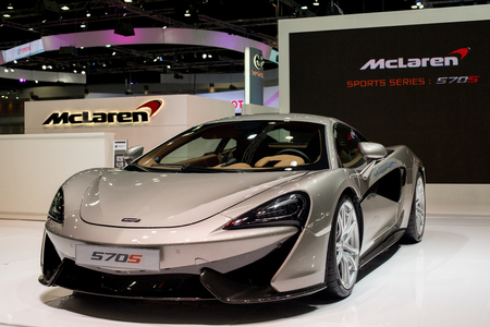 BANGKOK - DECEMBER 7 : 2016  MCLAREN  570S reveiled at thes at The 32nd Thailand International Motor Expo 2015 on December 7, 2015 in Bangkok, Thailand.