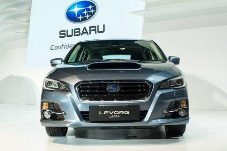 subaru: BANGKOK - DECEMBER 2 : SUBARU LEVORG 1.6 GT-S  reveiled at thes at The 32nd Thailand International Motor Expo 2015 on December 2, 2015 in Bangkok, Thailand. Editorial