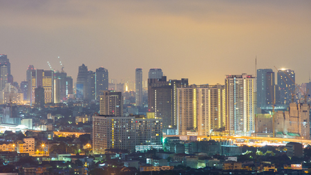 panoramic sky: The view of Bangkok skyline at sunrise. Stock Photo