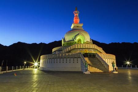 shanti: The Shanti Stupa in twilight time in Leh Ladakh,India Stock Photo