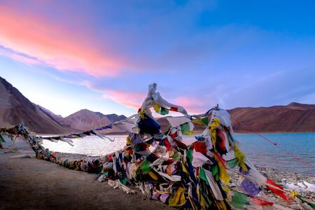 tibetian: tibetian prayer flag beside Pangong Lake (Pangong Tso),Leh , Ladakh, India.