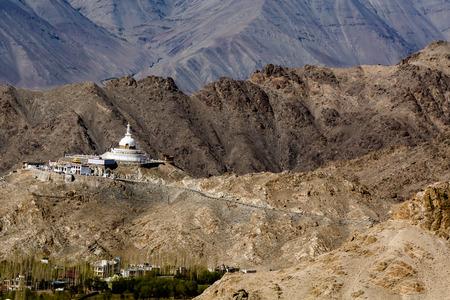 shanti: Shanti Stupa near Leh, Jammu and Kashmir, Ladakh, India Stock Photo