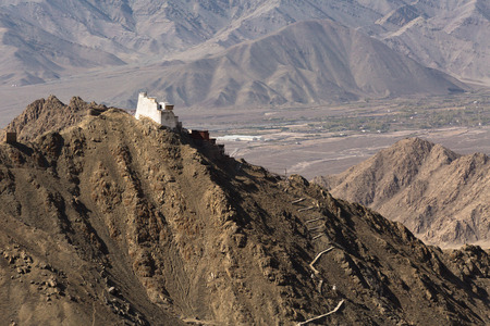 gompa: Fort and Namgyal or red gompa is main Buddhist centre in Leh-Ladakh. India Editorial