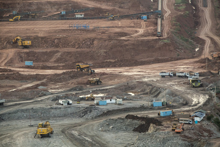 lignite: Lampang, Thailand - June 30: Various of machinery working in Lignite and coal mine at Mea moh powerplant Lampang, Thailand on June 30, 2016 Editorial