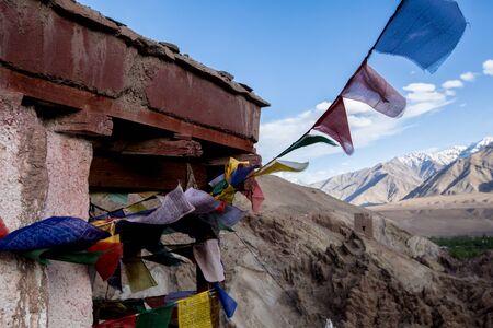 Lamayru Monastery, view of Lamayuru monastery in Leh-Ladakh, India. Lamayuru is a Tibetan Buddhist monastery at a height of 3,510 metres. Stock Photo