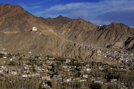 View of Leh city, the capital of Ladakh, Northern India. Leh city is located in the Indian Himalayas at an altitude of 3500 meters.