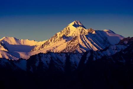 Himalayan mountain range during sunrise at morning time.Himalayan mountain background, Leh-Ladakh,Jammu and Kashmir, India Stock Photo