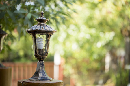 Antique frosty lamppost, Vintage lampot Stock Photo