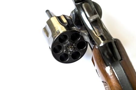 38 Caliber Revolver Pistol Loaded Cylinder Gun Barrel Close Up Stock Photo