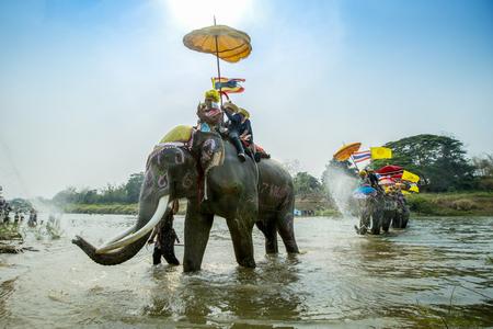 SUKHOTHAI - 2017 APRIL 7 : Sukhothai ordination parade on elephant back festival at Hadsiao Temple,Si Satchanalai from April 7 ,Riding on elephant and Thai Puan ordination on April 7 2017 in Sukhothai.