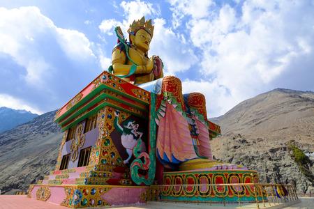 The Biggest Maitreya Buddha statue was build in 2006 at Diskit Monastery, Nubra valley, Leh, Ladakh, India