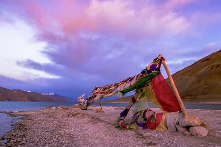 tibetian prayer flag beside Pangong Lake (Pangong Tso),Leh , Ladakh, India.