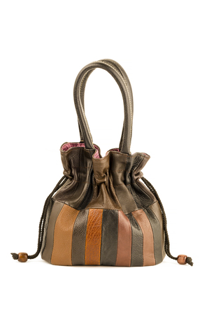 women leather handbags isolated on white background, studio shot