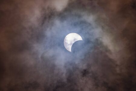 partial eclipse, lunar and solar eclipses are visible in Lampang, Thailand Standard-Bild